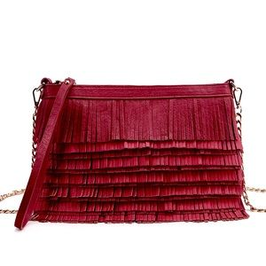 Pink Haley Layered Fringe Casual Clutch in Red